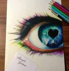 Colourful eye with heart pencil drawing - Some people just have an amazing talent. Has the look and feel of a photo--yet a drawing. Heart Pencil Drawing, Drawing Eyes, Pencil Art, Pencil Drawings, Painting & Drawing, Figure Drawing, Amazing Drawings, Beautiful Drawings, Cool Drawings