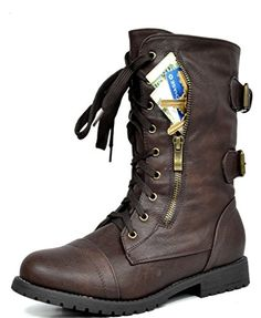 DREAM PAIRS Womens Terran Snow Brown Faux Fur Lined Mid Calf Riding Combat Boots Size 10 M US ** Click image for more details. (This is an affiliate link)