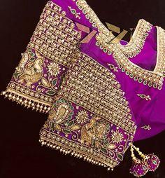 Wedding Saree Blouse Designs, Pattu Saree Blouse Designs, Hand Embroidery Designs, Embroidery Motifs, Half Saree Function, Blouse Desings, Maggam Works, Work Blouse, Sleeve Designs