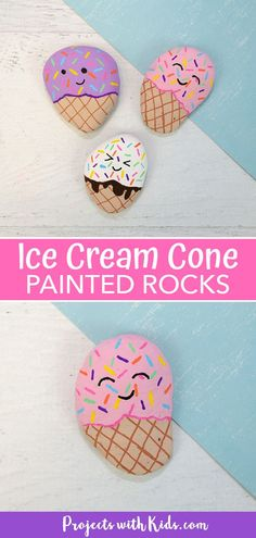 Kids will have a blast making these adorable ice cream painted rocks! A simple and fun summer craft. Boy Diy Crafts, Diy Crafts For Adults, Summer Crafts For Kids, Rock Crafts, Diy Crafts To Sell, Art For Kids, Kid Art, Beach Crafts, Ice Cream Painting