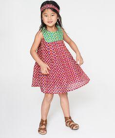 Yo Baby Red Geometric Button-Front Dress & Headband - Toddler & Girls on #zulily
