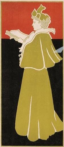 Woman with Magazine - c. 1897 - by Gisbert Combaz (1869-1941) - Style: Art Nouveau - @~ Mlle