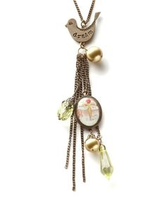 Take a look at this Kelly Rae Roberts Gold 'Dream' Tassel Pendant Necklace on zulily today!