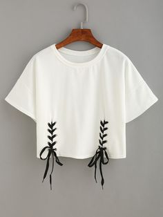 Shop Double Lace-Up Hem Crop T-shirt online. SheIn offers Double Lace-Up Hem Cro - French Shirt - Ideas of French Shirt - Shop Double Lace-Up Hem Crop T-shirt online. SheIn offers Double Lace-Up Hem Crop T-shirt & more to fit your fashionable needs. Crop Top And Shorts, Crop Top Outfits, T Shirt And Shorts, Diy Shirt, Cute Casual Outfits, Crop Shirt, Shirt Outfit, Shirt Blouses, Lace Up T Shirt
