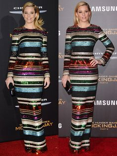 """Elizabeth Banks Outshines All in Striped Sequined Gown and Louboutin """"Cross Me"""" Sandals at """"Mockingjay 2"""" Premiere"""