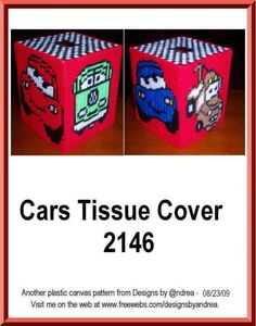 CARS 1/3 Plastic Canvas Tissue Boxes, Plastic Canvas Crafts, Plastic Canvas Patterns, Kleenex Box, Box Patterns, Canvas Designs, Tissue Box Covers, Disney Cars, Disney Cartoons