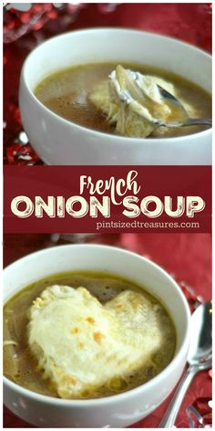 Stove-top, easy french onion soup is the perfect fix for onion soup fans! Ready in minutes and topped with Gruyere cheese it's perfect for an easy, romantic meal! Check out the heart-shaped toast in this especially romantic recipe! @alicanwrite