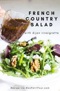 French Country Salad with Lemon Dijon Vinaigrette - Mon Petit Four - What's to Eat? French Vinaigrette, French Salad Dressings, Vinaigrette Salad Dressing, Salad Dressing Recipes, French Dinner Parties, Dinner Party Menu, French Dinner Menu, Dinner Club, Salads