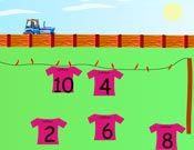 Wash Line 1.  Online game for ordinal numbers.