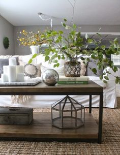 Really like the coffee table.  Coffee table styling - love height the branches add eclecticallyvintage.com