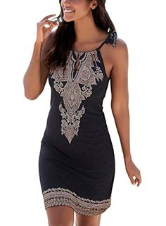 581064df5ad Happy Sailed Women Halter Neck Boho Print Sleeveless Casual Mini Beachwear  Dress Sundress - Compare Prices on Huffprice