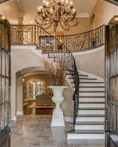 foyer w/ staircase grand entryway, entrance foyer, house entrance, Foyer Design, Staircase Design, House Design, Foyer Staircase, Villa Plan, Modern Entrance, House Entrance, Entrance Foyer, Luxury Interior