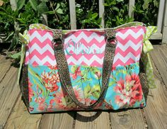 Custom Diaper Bag XXL Deluxe Multi Pockets Handmade Boutique You Pick Fabric Baby Girl Boy Pink Chevron Teal Floral Love Bouquet Leopard on Etsy, $140.00