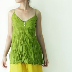 SALE Cotton Camisole for Summer in Green by oOlives on Etsy, $22.00