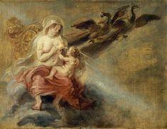 Junon allaitant Hercule (la naissance de la Voie Lactée) Paul Peter Rubens, entre 1600 et 1640 Huile sur bois, environ 34 x 27 cm Musées Royaux des Beaux Arts de Belgique, Bruxelles, Belgique #allaitement