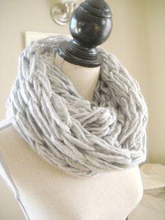 Soft Grey Arm Knit Infinity Scarf