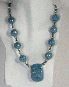 Kazuri Jewelry Necklace in Turquoise and Gold African  Beads