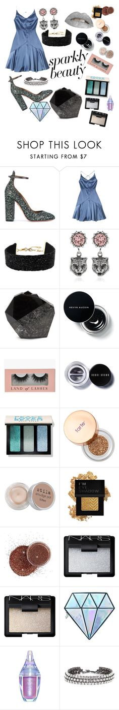 """""""#PolyPresents: Sparkly Beauty"""" by portiapco ❤ liked on Polyvore featuring beauty, Aquazzura, Amrita Singh, Gucci, Bobbi Brown Cosmetics, Sephora Collection, Stila, Forever 21, NARS Cosmetics and Unicorn Lashes"""