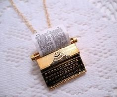 Love this typewriter necklace...IDK how that paper would wear...would still look great without. Cute Jewelry, Unique Jewelry, Jewelry Box, Jewelry Accessories, Fashion Accessories, Jewelry Necklaces, Fashion Jewelry, Bracelets, Nerd Jewelry