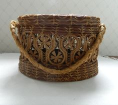 Antique Woven Pine Needle Basket