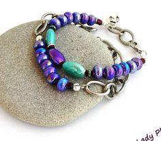Bracelets Femme - Violet/Turquoise - Céramique, chaine et Titane- 2 bracelets : Bracelet par ladyplazza