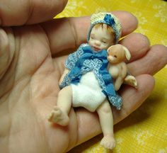 Miniature baby boy and puppy. One of a kind by Morena Ciambra - Dreamartdolls