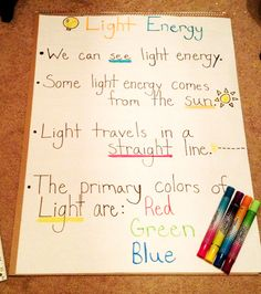 Light Energy facts for kids- 2nd grade anchor chart I made! :)