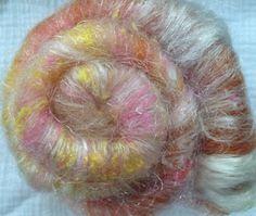 Alpaca/Merino/Silk Noil Spinning Batt  Textured by AlmaPark, $11.00
