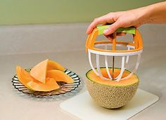 Melon Cutter: Just simply press the special easy-grip handle, twist into the melon and voila, it's ready!