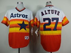 1149ed2a6 Astros  27 Jose Altuve White Orange 1980 Turn Back The Clock Stitched MLB  Jersey
