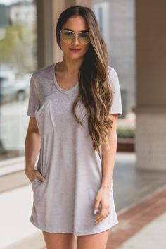 The All Mine T-Shirt Dress in Grey is a pretty and comfortable basic you won't want to miss! This piece has short sleeves, a v neckline, and a lightweight feel. The faux suede dress has a flowy fit an