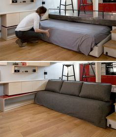 When you're trying to pack an entire apartment worth of furniture into just 130 square feet, where do you find the room for a full-sized bed? The answer, in this case, is a place you'd likely never expect: under the kitchen floor. 'Disappearing Bed' rolls under a raised platform to go away altogether when floor space is required, or it can be pulled halfway out like a drawer to serve as a couch.