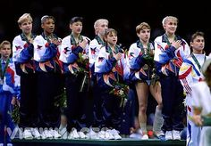 The Magnificent Seven-1996 Olympic gymnasts- I LOVED these gymnasts! I will never forget Kerri Strug's 1st vault! I knew she was hurt and was so scared she would fall on the 2nd vault. When she landed and held up that foot, but finished with her 3 turns and arms up it was an AMAZING  moment!-My FAVORITE olympic moment!