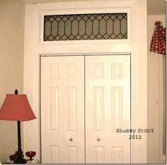 An old window installed over closet doors makes a great night light when closet light is left on.