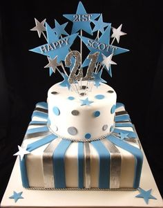 Blue stripes and starts 21st cake