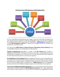 Cut Down Your HR Expenses with EmployWise Hr Management, Resource Management, Life Cycles, Human Resources, Software
