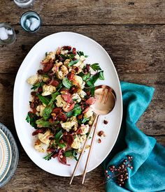 Emma Knowles recipe for fast chorizo, roasted cauliflower and almond salad.
