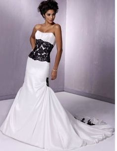 White with black lace wedding dress front -- so gonna be mine!!
