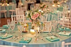 tiffany blue wedding theme on tiffany blue wedding decoration ideas Wedding Reception Chairs, Blue Wedding Receptions, Blue Wedding Decorations, Wedding Colors, Wedding Flowers, Wedding Tables, Bleu Tiffany, Tiffany Theme, Chic Wedding
