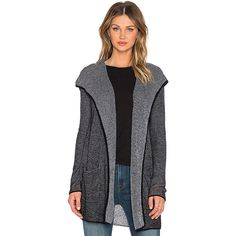 LA Made Two Tone Waffle Cashmere Blend Hooded Cardigan Sweaters &... ($83) ❤ liked on Polyvore featuring tops, cardigans, sweaters & knits, waffle top, knit cardigan, open front knit cardigan, la made and knit tops
