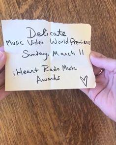 #DelicateMusicVideo World Premiere. This Sunday. #IHeartAwards
