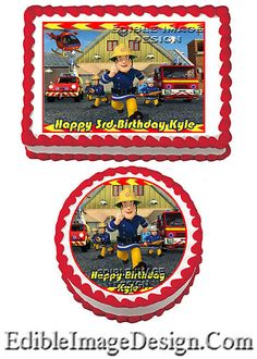 FIREMAN SAM #2 Birthday Edible Party Cake Image Cupcake Topper