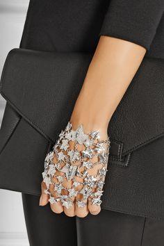 Alexander McQueen | Ivy Leave set of two silver-plated finger bracelets