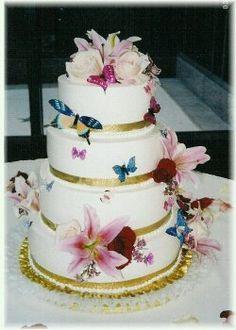 Butterfly and Star Gazer Lilly Wedding Cake