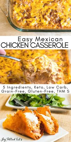 Easy Mexican Chicken Casserole with Chipotle - Low Carb, Keto, THM S, Grain-Free, Gluten-Free, 5 Ingredients -   This Chipotle Chicken Casserole is excellent in a low carb tortilla, in crisp lettuce wraps, in cheese taco shells, or on a bed of cauliflower rice. Top with a dollop of sour cream and some cilantro for the perfect entree.