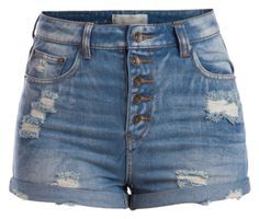 A fashion look from July 2015 featuring high-rise shorts. Browse and shop related looks. Denim Shorts Style, Blue Jean Shorts, Blue Denim, High Rise Shorts, High Waisted Shorts, High Waist Jeans, Waisted Denim, Ripped Shorts, Cute Shorts