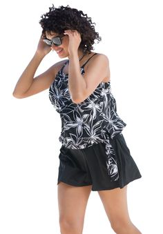 Side-tie tankini top with blouson by Swim 365 - Women's Plus Size Clothing #style#swimsuit#womensfashion