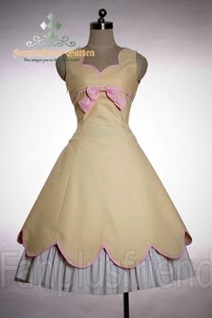 Lolita: Open Back Corset Scallop Summer Dress(Ivory/Black)* (DR00060) Gothic Lolita - One-Piece [Cosmates]
