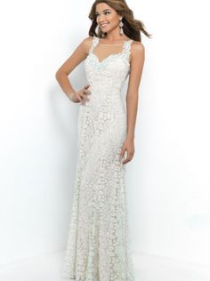 A-line White Lace Formal Evening Dress/Prom Dress 2015 9938