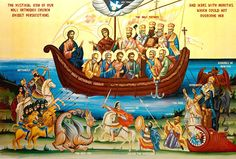 High quality hand-painted Orthodox icon of The Ark of Salvation. BlessedMart offers Religious icons in old Byzantine, Greek, Russian and Catholic style. John Chrysostom, Orthodox Christianity, World Religions, Orthodox Icons, Vatican, Occult, Mystic, The Book, Painting